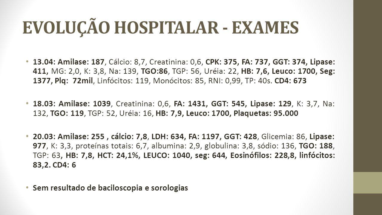 EVOLUÇÃO HOSPITALAR - EXAMES