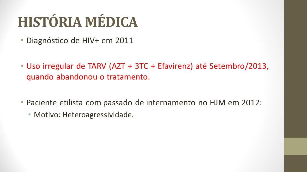 HISTÓRIA MÉDICA Diagnóstico de HIV+ em 2011