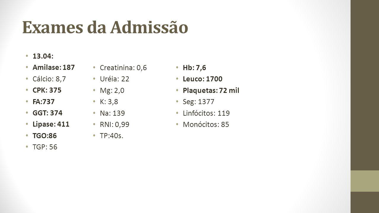 Exames da Admissão 13.04: Amilase: 187 Cálcio: 8,7 CPK: 375 FA:737