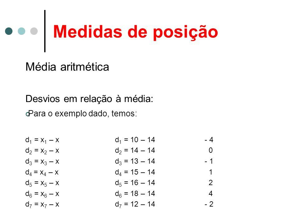 Medidas de posição Média aritmética Desvios em relação à média: