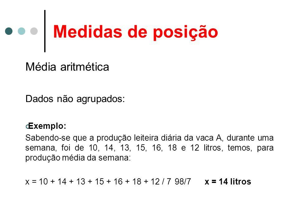 Medidas de posição Média aritmética Dados não agrupados: Exemplo: