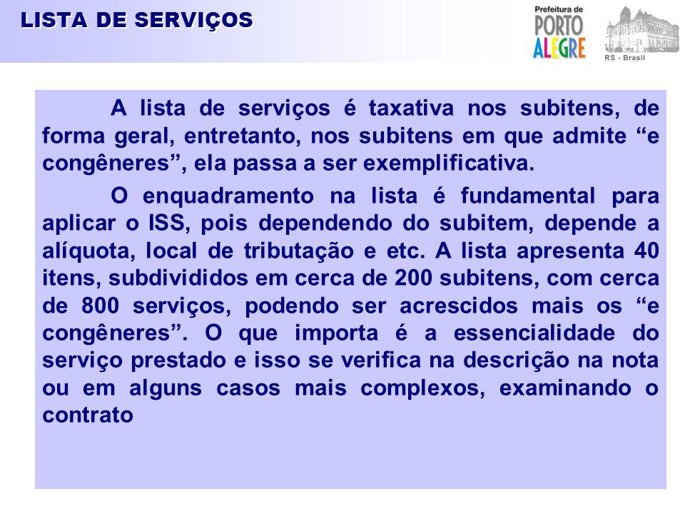 LISTA DE SERVIÇOS