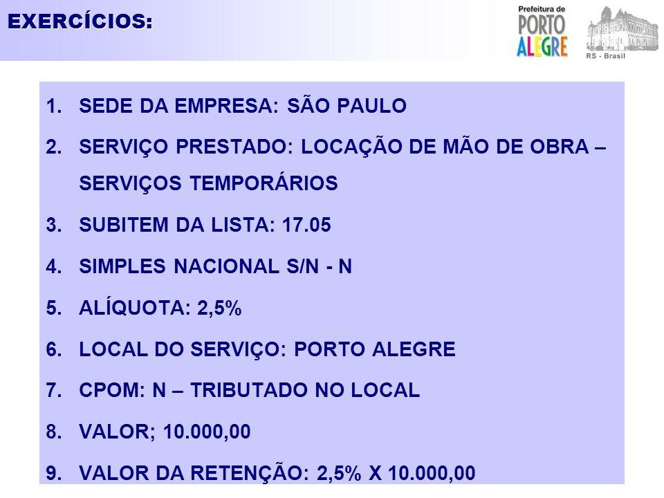 EXERCÍCIOS: SEDE DA EMPRESA: SÃO PAULO. SERVIÇO PRESTADO: LOCAÇÃO DE MÃO DE OBRA – SERVIÇOS TEMPORÁRIOS.