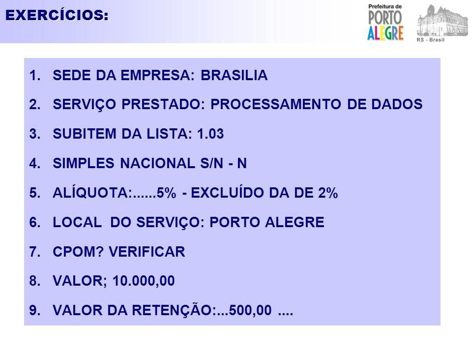 EXERCÍCIOS: SEDE DA EMPRESA: BRASILIA. SERVIÇO PRESTADO: PROCESSAMENTO DE DADOS. SUBITEM DA LISTA: 1.03.