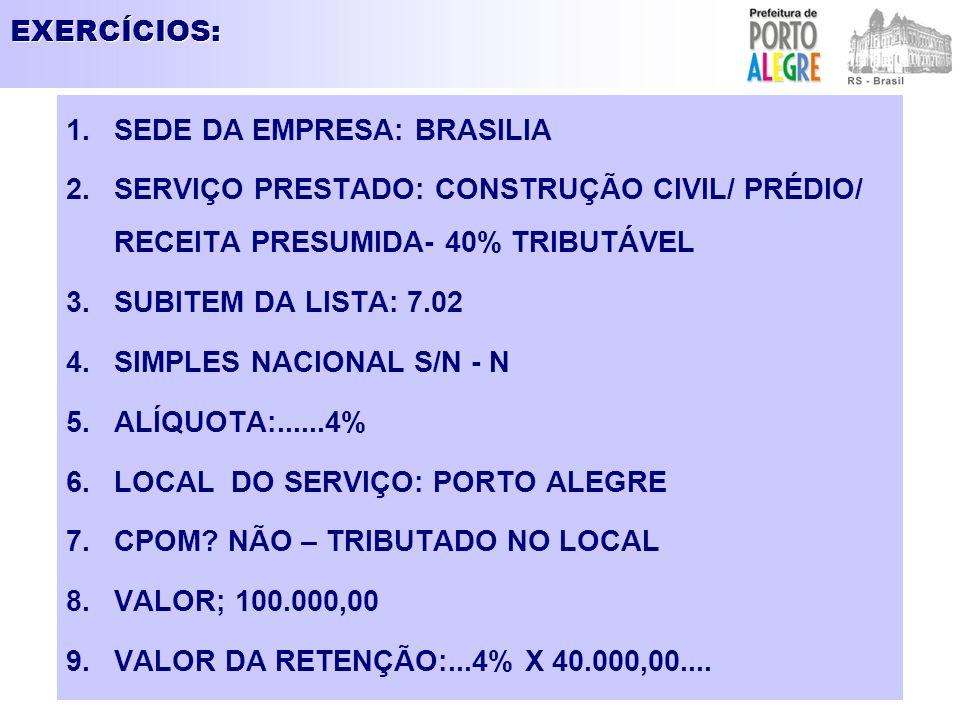 EXERCÍCIOS: SEDE DA EMPRESA: BRASILIA. SERVIÇO PRESTADO: CONSTRUÇÃO CIVIL/ PRÉDIO/ RECEITA PRESUMIDA- 40% TRIBUTÁVEL.