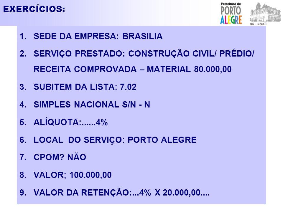 EXERCÍCIOS: SEDE DA EMPRESA: BRASILIA. SERVIÇO PRESTADO: CONSTRUÇÃO CIVIL/ PRÉDIO/ RECEITA COMPROVADA – MATERIAL 80.000,00.
