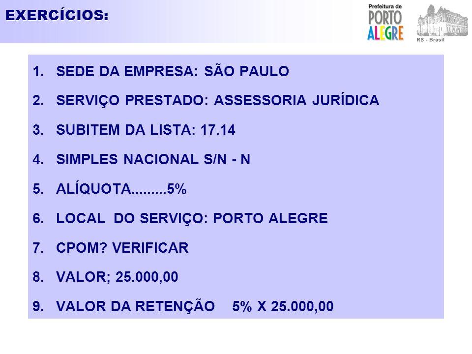 EXERCÍCIOS: SEDE DA EMPRESA: SÃO PAULO. SERVIÇO PRESTADO: ASSESSORIA JURÍDICA. SUBITEM DA LISTA: 17.14.