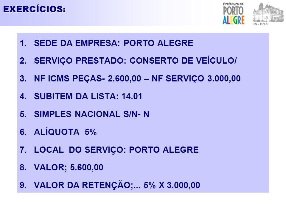 EXERCÍCIOS: SEDE DA EMPRESA: PORTO ALEGRE. SERVIÇO PRESTADO: CONSERTO DE VEÍCULO/ NF ICMS PEÇAS- 2.600,00 – NF SERVIÇO 3.000,00.