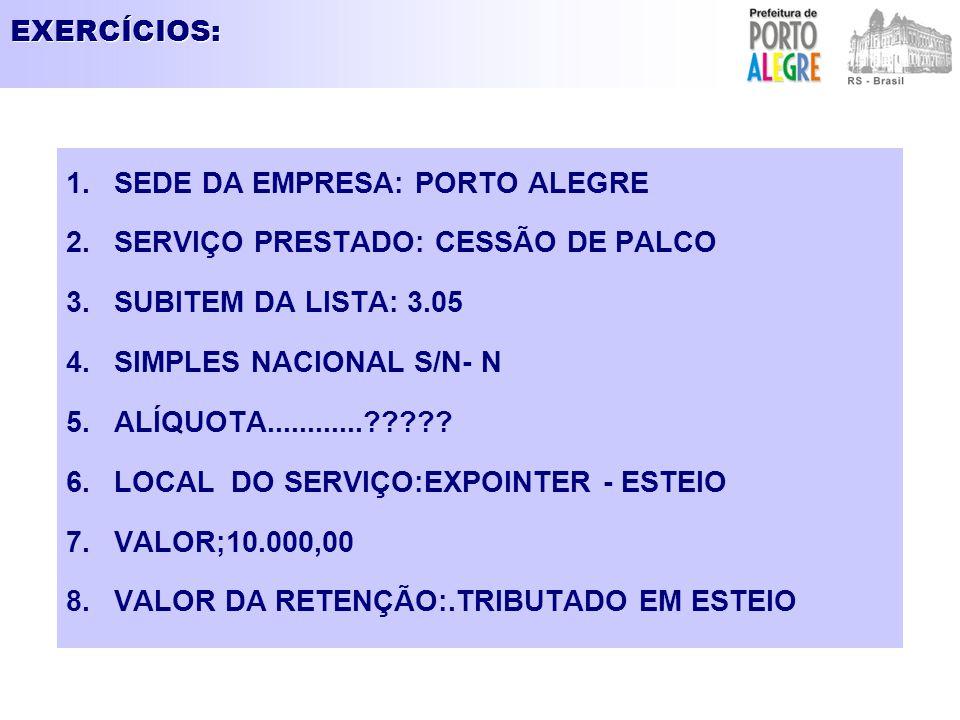 EXERCÍCIOS: SEDE DA EMPRESA: PORTO ALEGRE. SERVIÇO PRESTADO: CESSÃO DE PALCO. SUBITEM DA LISTA: 3.05.