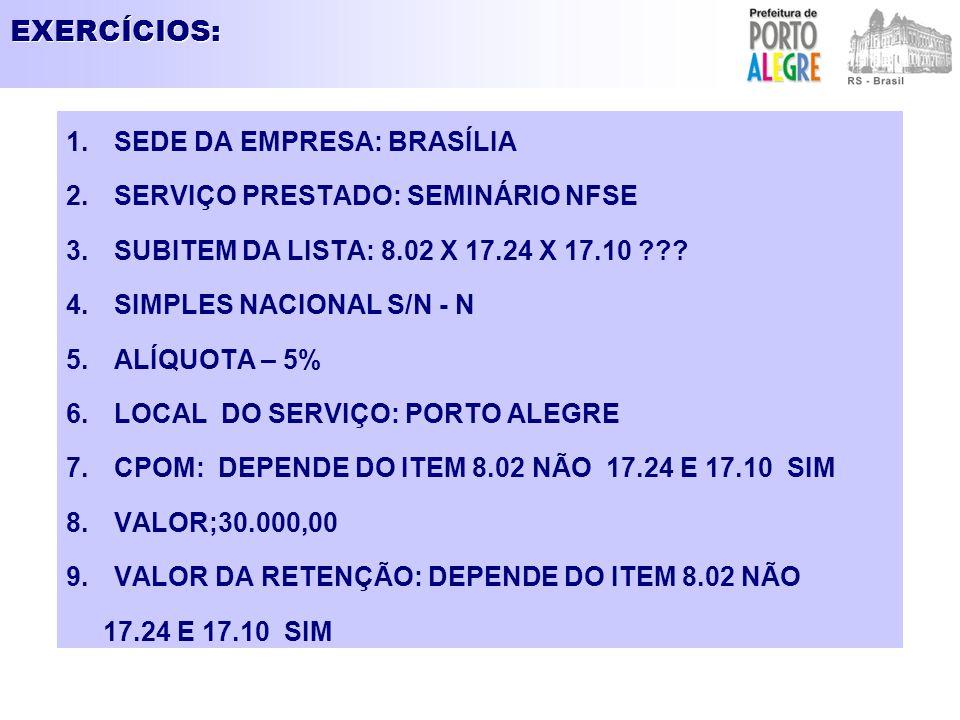 EXERCÍCIOS: SEDE DA EMPRESA: BRASÍLIA SERVIÇO PRESTADO: SEMINÁRIO NFSE