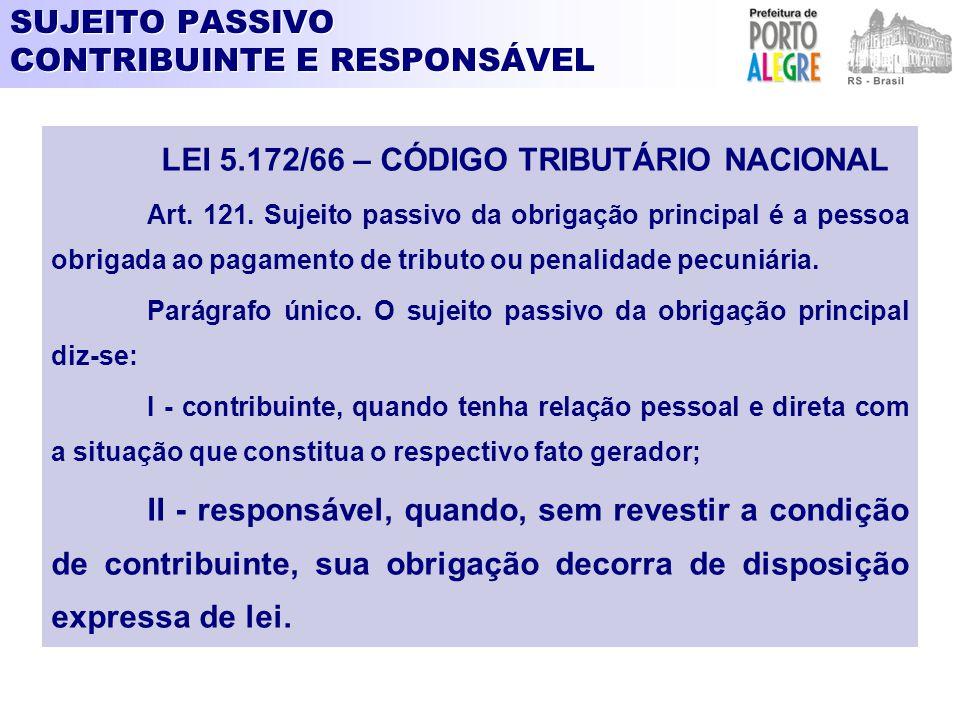 SUJEITO PASSIVO CONTRIBUINTE E RESPONSÁVEL