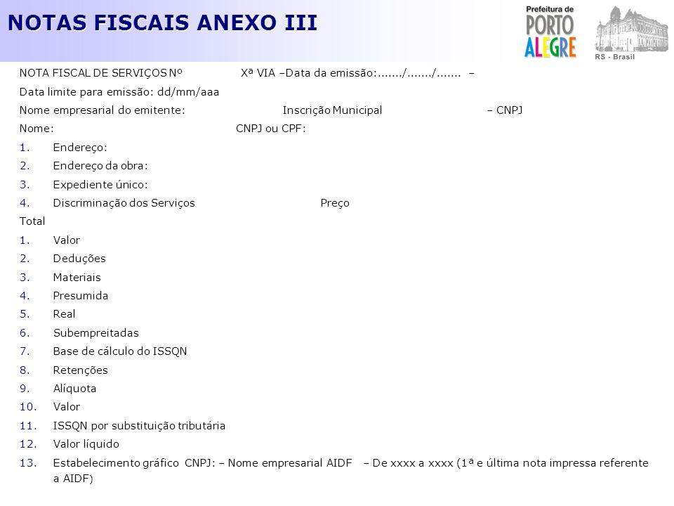 NOTAS FISCAIS ANEXO III