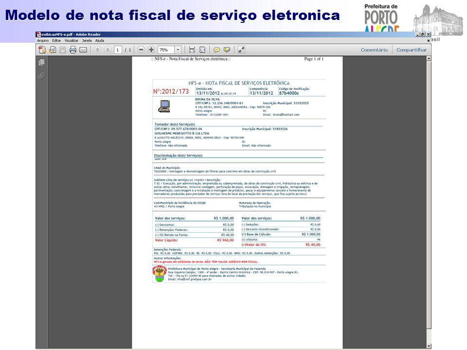 Modelo de nota fiscal de serviço eletronica