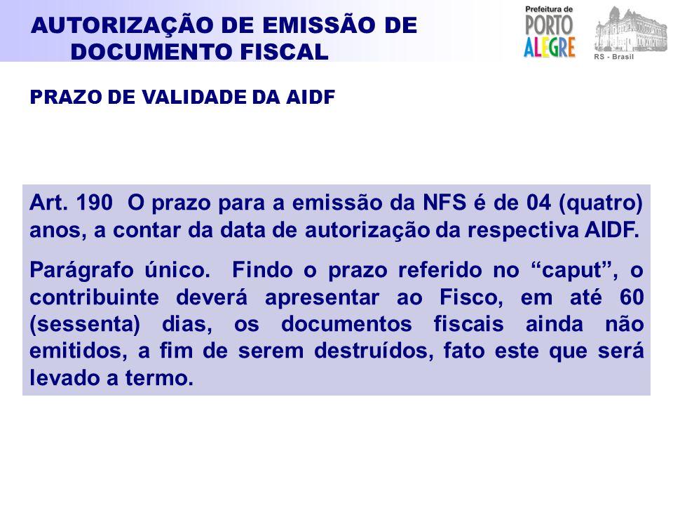 AUTORIZAÇÃO DE EMISSÃO DE DOCUMENTO FISCAL