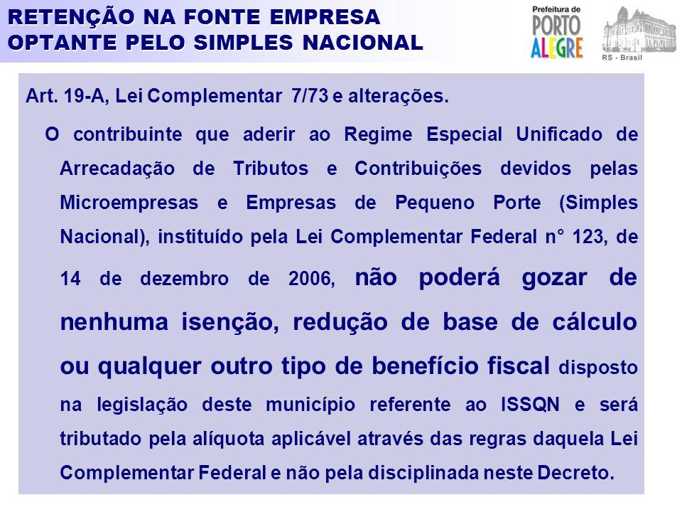 RETENÇÃO NA FONTE EMPRESA OPTANTE PELO SIMPLES NACIONAL