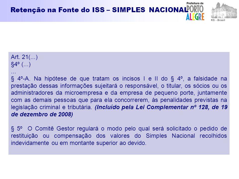 Retenção na Fonte do ISS – SIMPLES NACIONAL