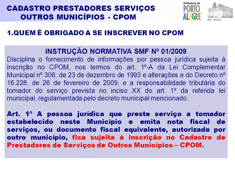 INSTRUÇÃO NORMATIVA SMF Nº 01/2009