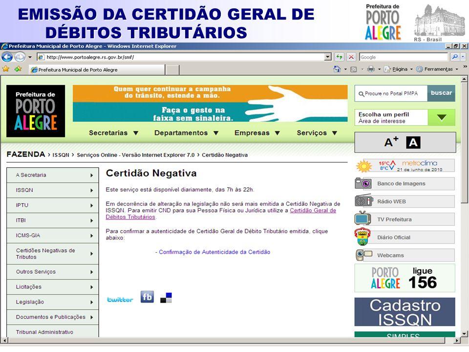 EMISSÃO DA CERTIDÃO GERAL DE DÉBITOS TRIBUTÁRIOS