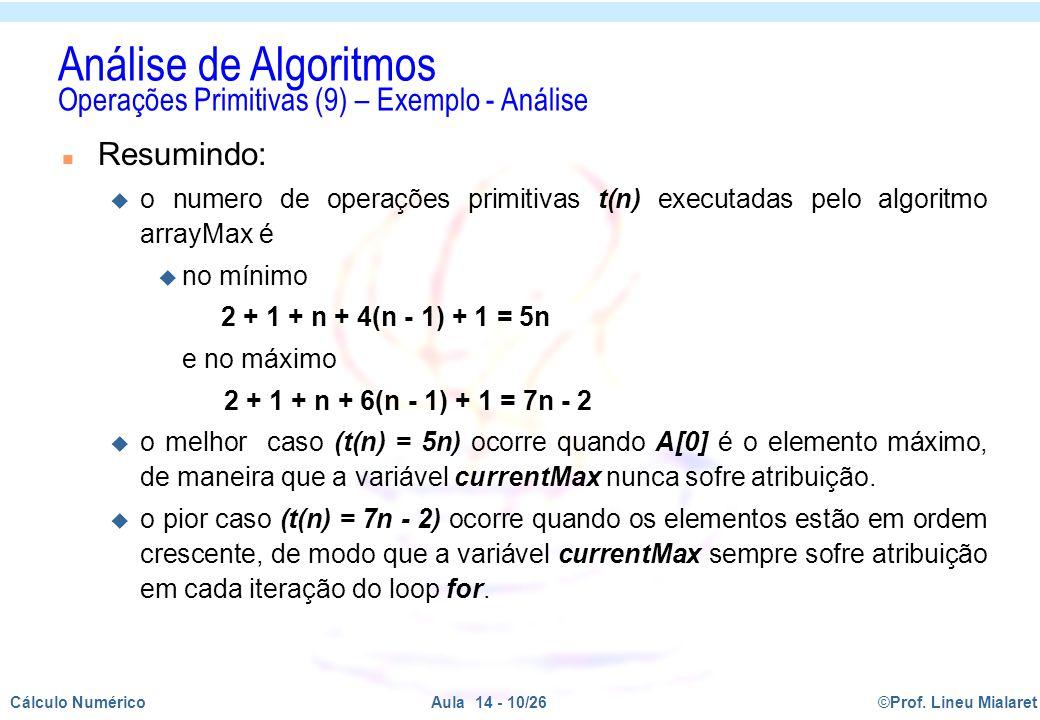 Análise de Algoritmos Operações Primitivas (9) – Exemplo - Análise