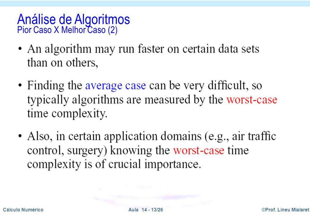 Análise de Algoritmos Pior Caso X Melhor Caso (2)