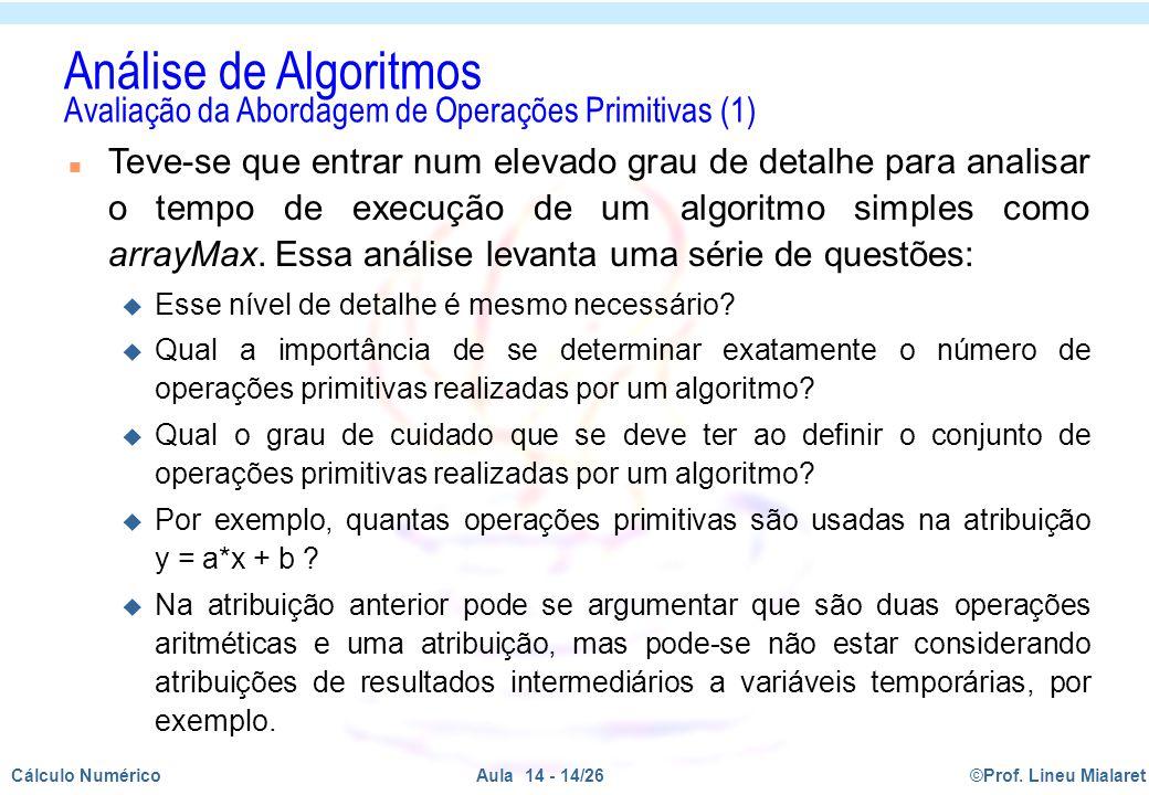 Análise de Algoritmos Avaliação da Abordagem de Operações Primitivas (1)