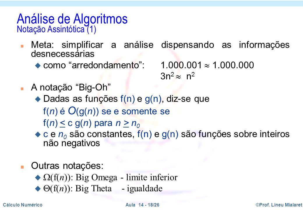 Análise de Algoritmos Notação Assintótica (1)