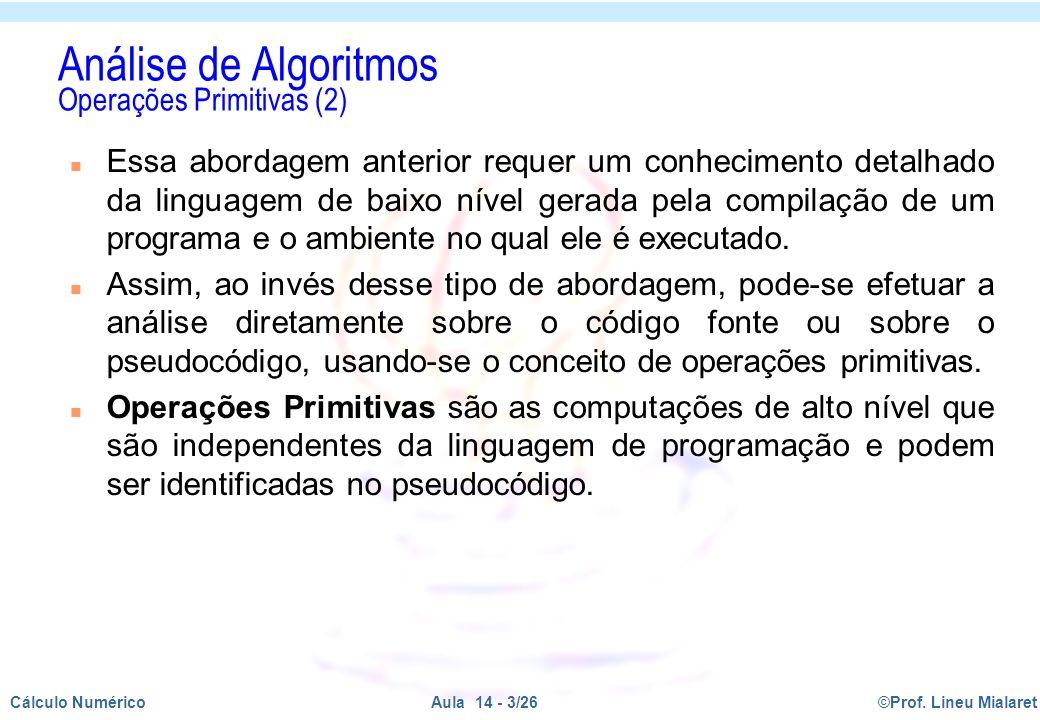 Análise de Algoritmos Operações Primitivas (2)