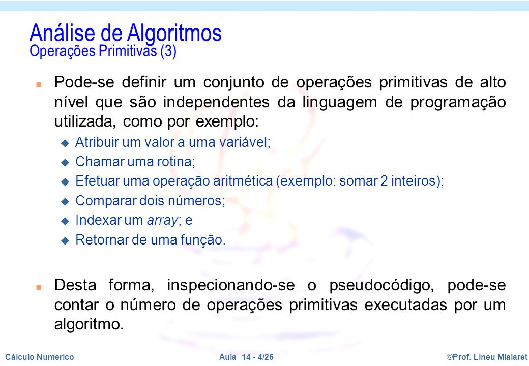 Análise de Algoritmos Operações Primitivas (3)