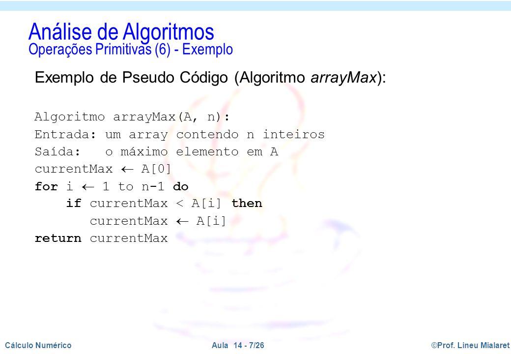 Análise de Algoritmos Operações Primitivas (6) - Exemplo
