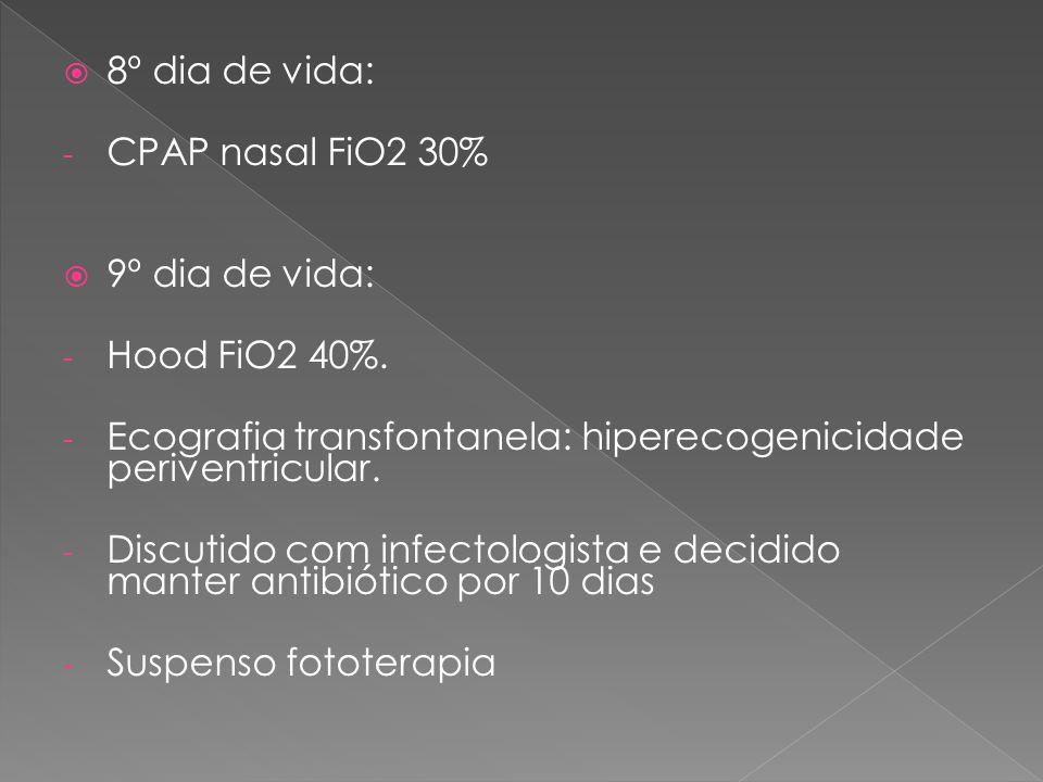 8º dia de vida: CPAP nasal FiO2 30% 9º dia de vida: Hood FiO2 40%. Ecografia transfontanela: hiperecogenicidade periventricular.