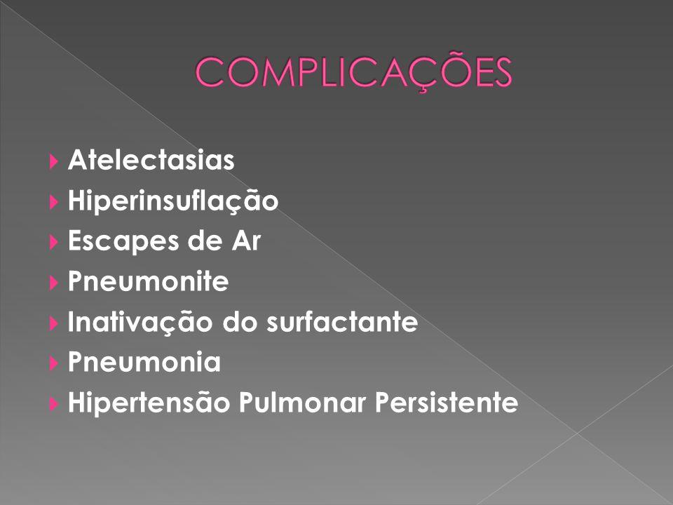 COMPLICAÇÕES Atelectasias Hiperinsuflação Escapes de Ar Pneumonite