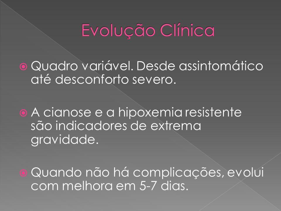 Evolução Clínica Quadro variável. Desde assintomático até desconforto severo.