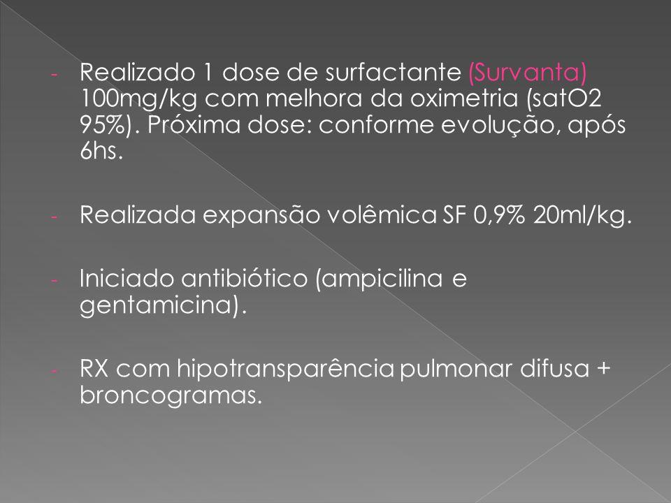 Realizado 1 dose de surfactante (Survanta) 100mg/kg com melhora da oximetria (satO2 95%). Próxima dose: conforme evolução, após 6hs.