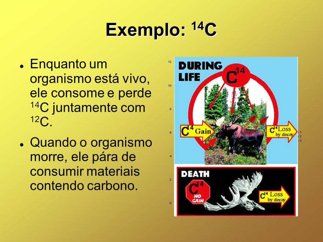 Exemplo: 14C Enquanto um organismo está vivo, ele consome e perde 14C juntamente com 12C.