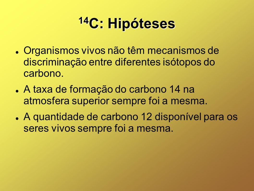 14C: Hipóteses Organismos vivos não têm mecanismos de discriminação entre diferentes isótopos do carbono.