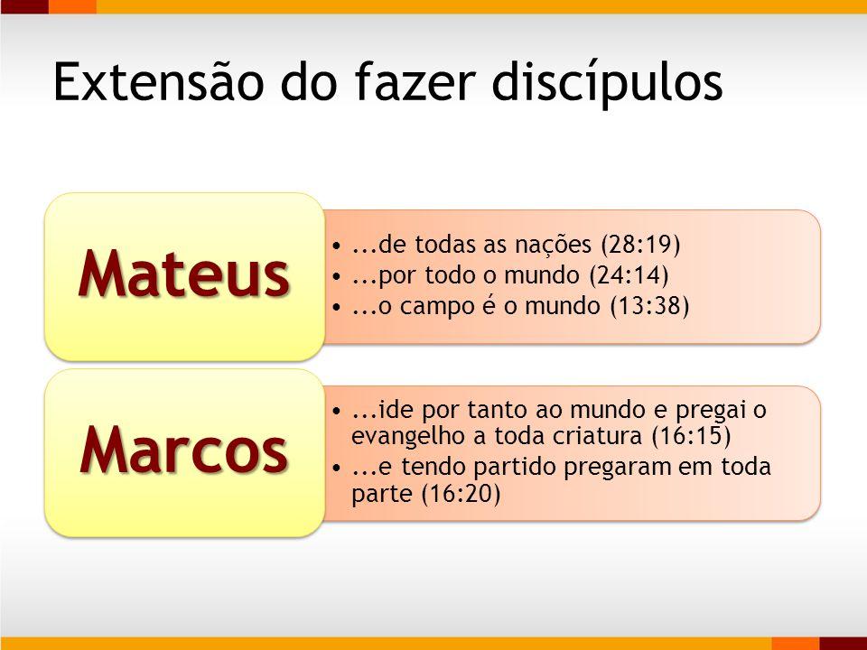 Extensão do fazer discípulos