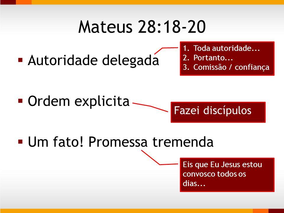 Mateus 28:18-20 Autoridade delegada Ordem explicita