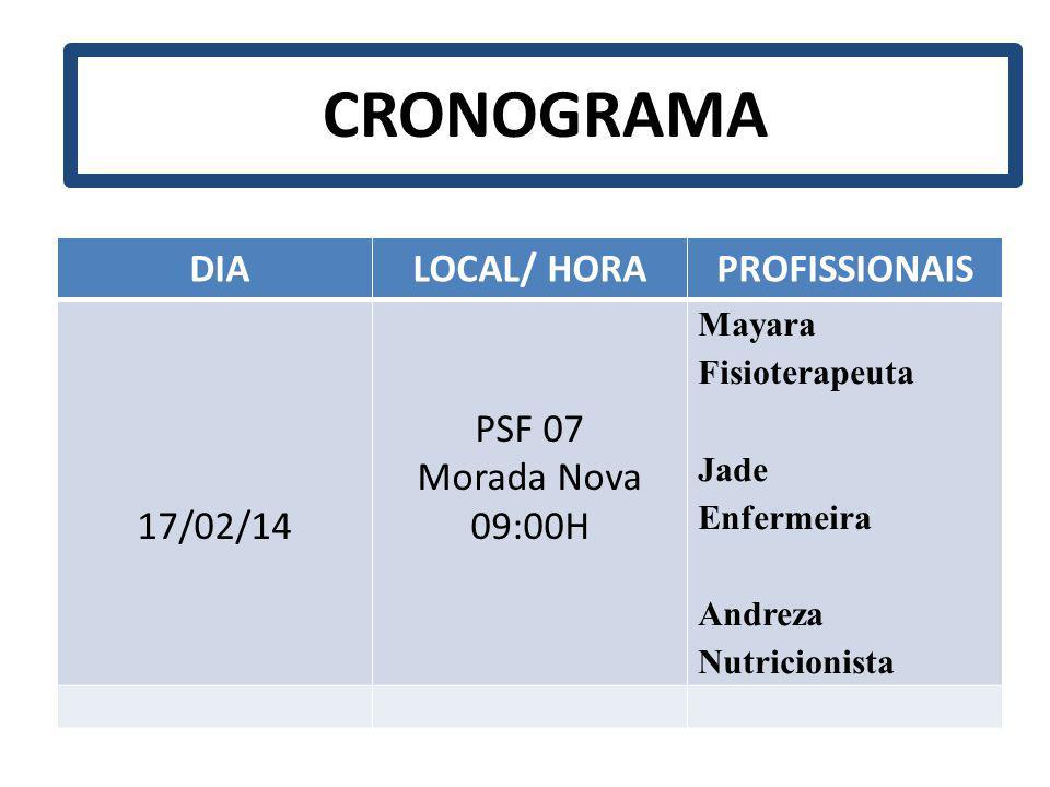CRONOGRAMA DIA LOCAL/ HORA PROFISSIONAIS 17/02/14 PSF 07