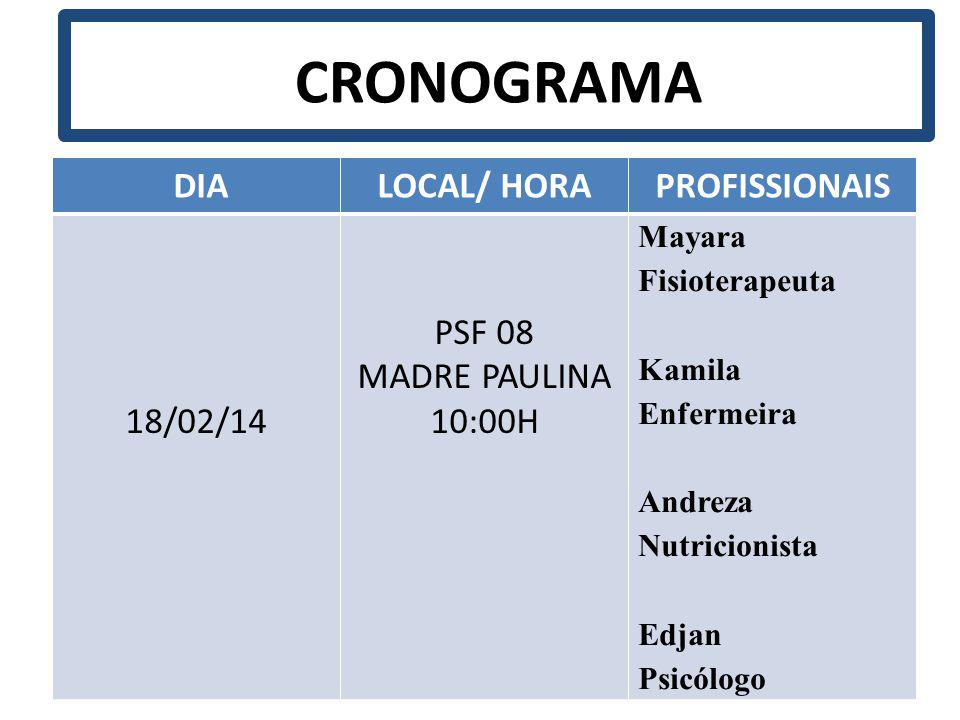 CRONOGRAMA DIA LOCAL/ HORA PROFISSIONAIS 18/02/14 PSF 08