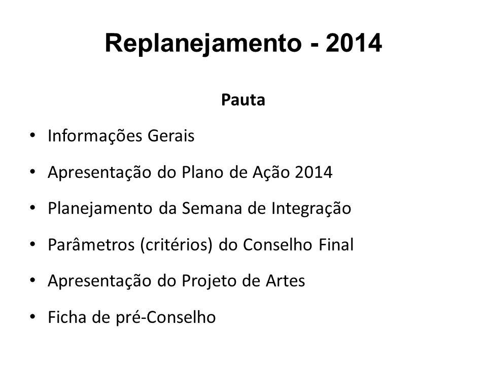 Replanejamento - 2014 Pauta Informações Gerais