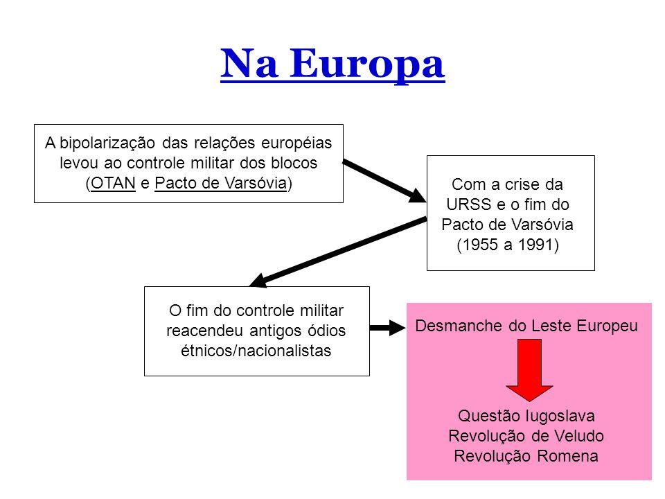 Na Europa A bipolarização das relações européias levou ao controle militar dos blocos (OTAN e Pacto de Varsóvia)