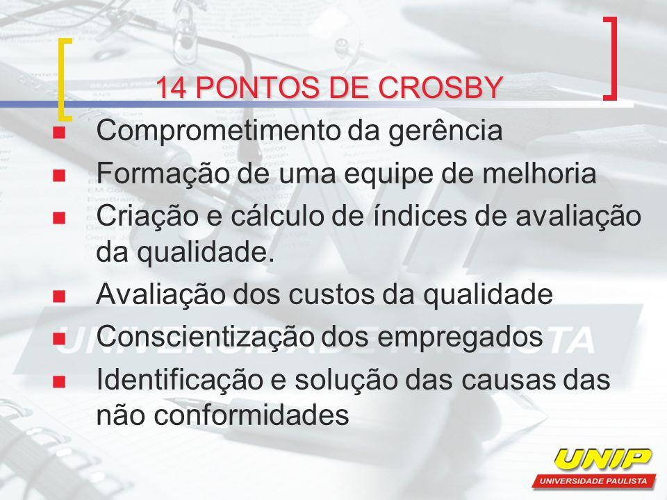 14 PONTOS DE CROSBY Comprometimento da gerência. Formação de uma equipe de melhoria. Criação e cálculo de índices de avaliação da qualidade.