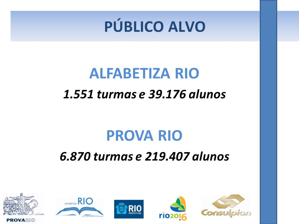 PÚBLICO ALVO ALFABETIZA RIO