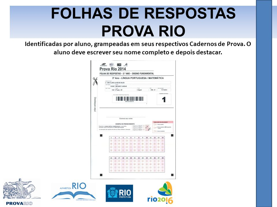 FOLHAS DE RESPOSTAS PROVA RIO