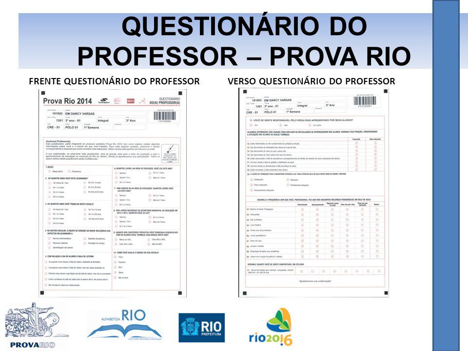 QUESTIONÁRIO DO PROFESSOR – PROVA RIO