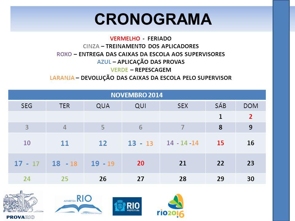 CRONOGRAMA 11 12 13 - 13 17 - 17 18 - 18 19 - 19 NOVEMBRO 2014 SEG TER