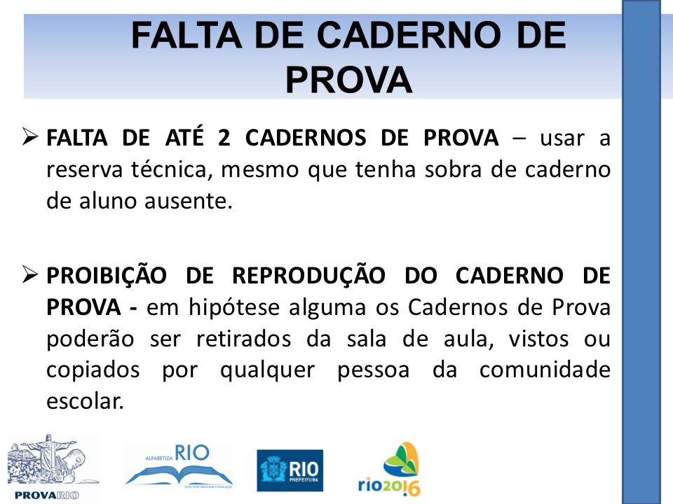 FALTA DE CADERNO DE PROVA