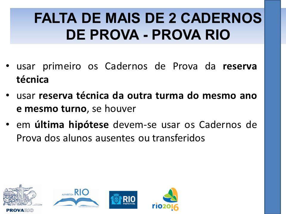 FALTA DE MAIS DE 2 CADERNOS DE PROVA - PROVA RIO