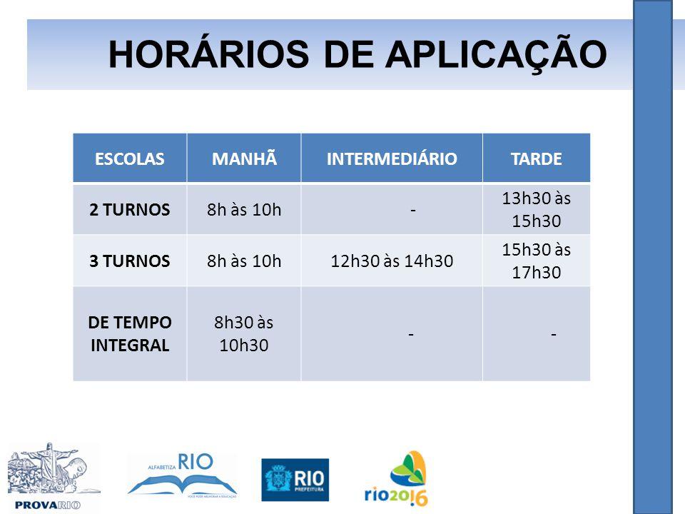 HORÁRIOS DE APLICAÇÃO ESCOLAS MANHÃ INTERMEDIÁRIO TARDE 2 TURNOS