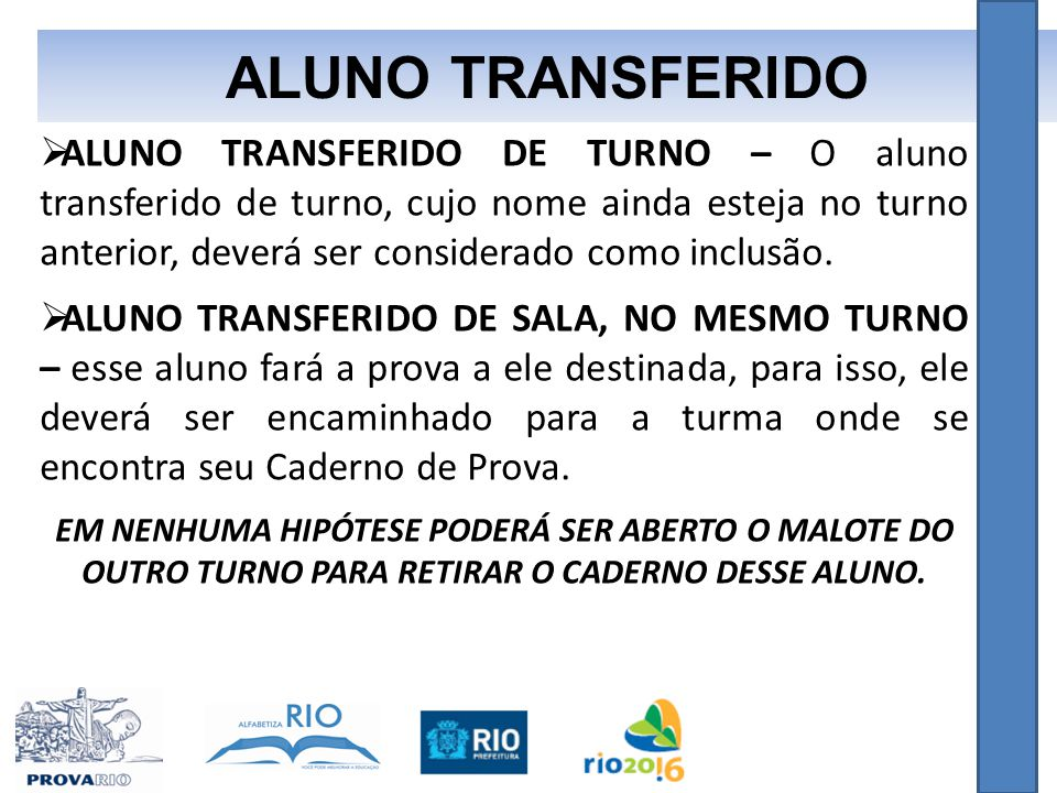 ALUNO TRANSFERIDO